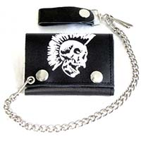 Mohawk Skull on a black leather wallet (Comes with chain)