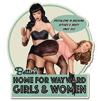 Bettie Page Home for Wayward Girls sticker by Retro-a-go-go (st1158)