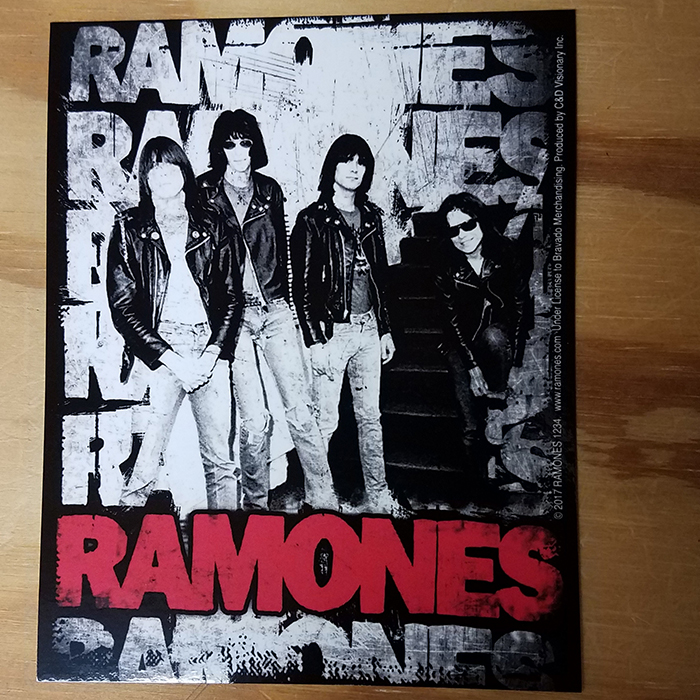 Ramones- Band Pic & Repeating Logo sticker (st219)