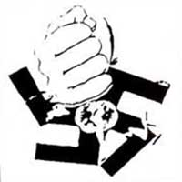 Anti Nazi- Fist Crushing Swastika sticker (st112)