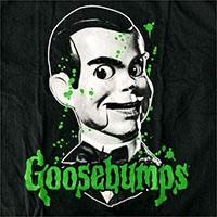 Goosebumps- Slappy Splatter on a black shirt