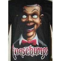 Goosebumps- Slappy & Red Logo on a black shirt