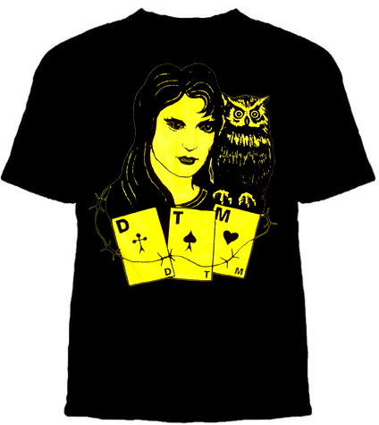 Dead To Me- Gypsy & Owl on a black ringspun cotton shirt (Sale price!)