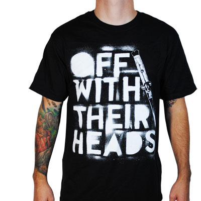 Off With Their Heads- Switchblade Logo on a black ringspun cotton shirt