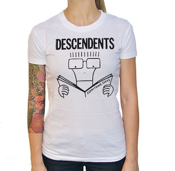 Descendents- Everything Sucks on a white girls fitted shirt