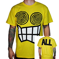 ALL- Face on front, Logo on back on a yellow shirt