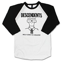 Descendents- Milo Goes To College on a white/black 3/4 sleeve raglan shirt