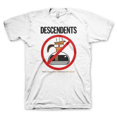 Descendents- Thou Shalt Not Partake Of Decaf on a white shirt