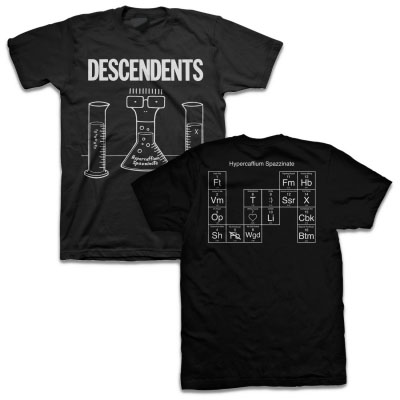 Descendents- Hypercaffium Spazzinateon front & back on a black shirt