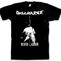 Discharge- Never Again on a black shirt