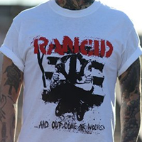 Rancid- And Out Come The Wolves on a white shirt