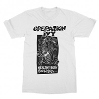 Operation Ivy- Healthy Body Sick Mind on a white ringspun cotton shirt