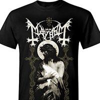 Mayhem- Crown Of Thorns on a black shirt
