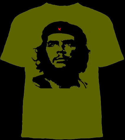 Che Guevara- Classic Pic on an army green shirt (Sale price!)