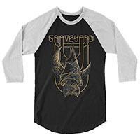 Graveyard- Bat on a black/white 3/4 sleeve shirt