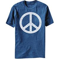 Peace Symbol on a heather blue ringspun cotton shirt