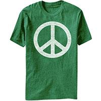 Peace Symbol on a heather green ringspun cotton shirt