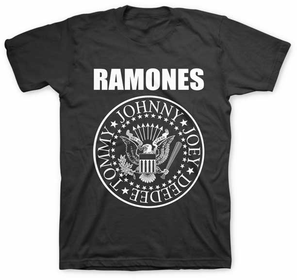 Ramones- Presidential Seal on a black ringspun cotton shirt