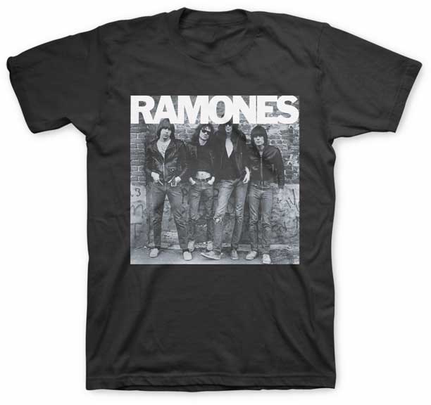 Ramones- First Album Cover on a black ringspun cotton shirt