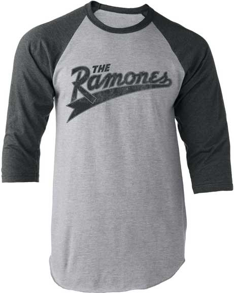 Ramones- Logo on a heather grey & grey raglan 3/4 Sleeve Shirt