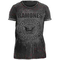 Ramones- Presidential Seal Splatter on a grey shirt