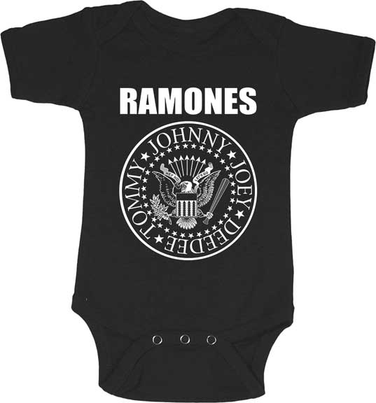 Ramones- Presidential Seal (White Logo) on a black onesie