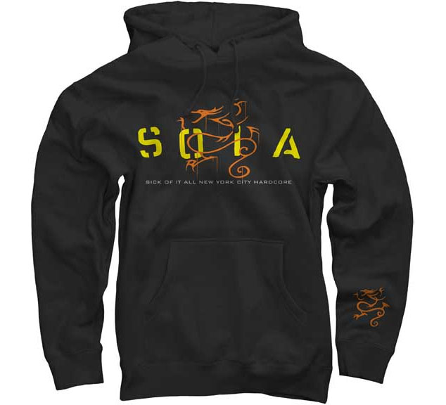 Sick Of It All- SOIA on Front, Dragon on Sleeve on a black hooded sweatshirt