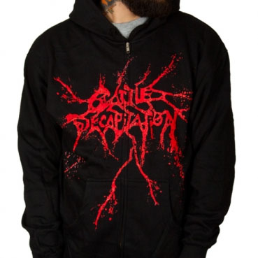 Cattle Decapitation- Logo on a black zip up hooded sweatshirt