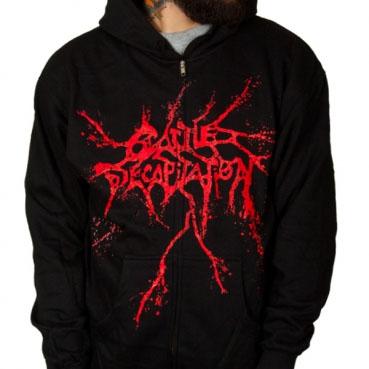 Cattle Decapitation- Logo on a black zip up hooded sweatshirt