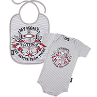 Striped My Mommy's Tattoos Gift Set by Six Bunnies (S:0-3m, M:3-6m, L:6-12m) - Gray & White