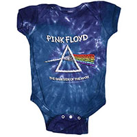 Pink Floyd- Dark Side Of The Moon on a blue tie dye onesie