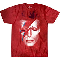 David Bowie- Alladin Sane on a red tie dye shirt