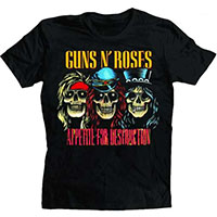 Guns N Roses- Appetite For Destruction (3 Skulls) on a black shirt