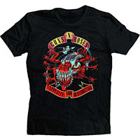Guns N Roses- Avenger Skull & Banners on a black shirt