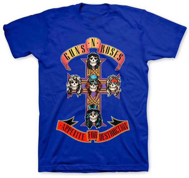 Guns N Roses- Appetite For Destruction on a blue shirt