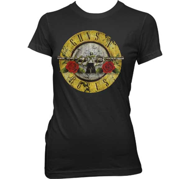 Guns N Roses- Distressed Bullet on a black girls fitted shirt