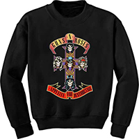 Guns N Roses- Appetite For Destruction on a black crew neck sweatshirt
