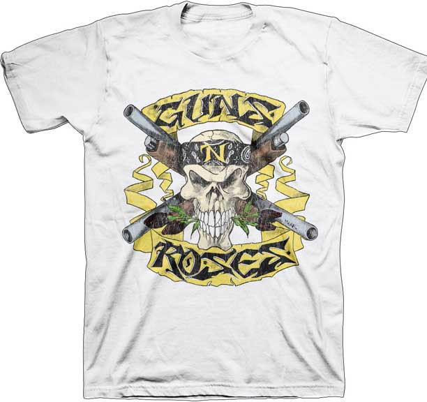 Guns N Roses- Skull & Shotguns on a white shirt