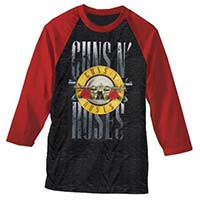 Guns N Roses- Logo on a grey & red 3/4 sleeve shirt