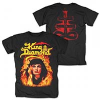 King Diamond- Fatal Portrait (Girl In Flames) on front, Symbol on back on a black shirt