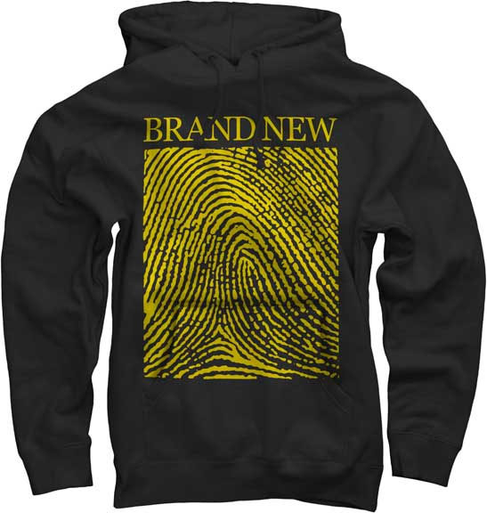 Brand New- Fingerprint on a black hooded sweatshirt