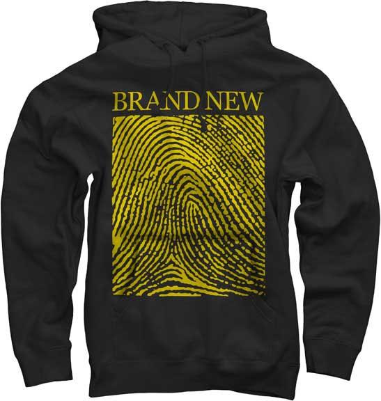 Brand New- Fingerprint on a black hooded sweatshirt