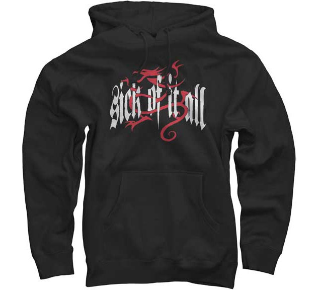 Sick Of It All- White Logo & Dragon on a black hooded sweatshirt
