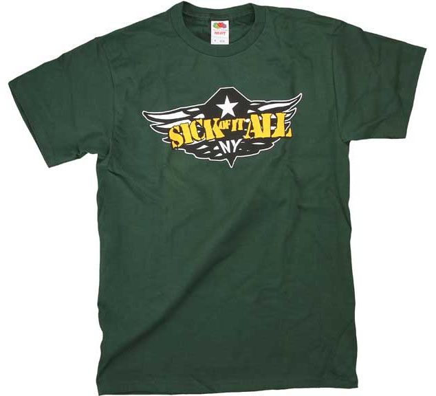 Sick Of It All- Wings on a green shirt