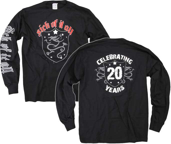Sick Of It All- Dragon Crest on front, 20 Years on back, Logo on sleeve on a black long sleeve shirt