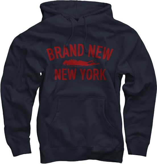 Brand New- New York on a navy hooded sweatshirt
