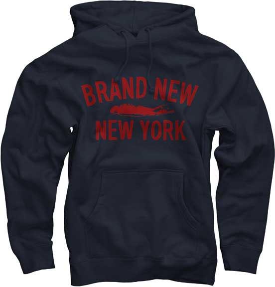Brand New- New York on a navy hooded sweatshirt