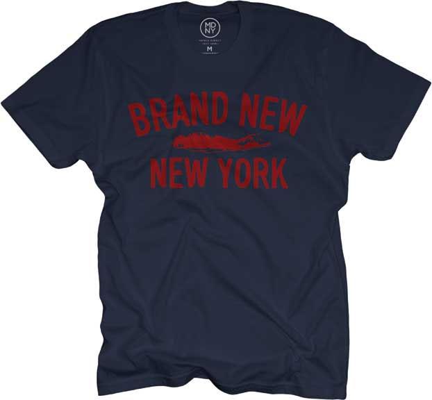 Brand New- New York on a navy ringspun cotton shirt