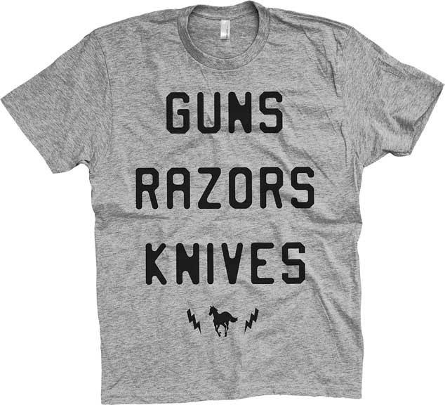 Deftones- Guns Razors Knives on a heather grey ringspun cotton shirt