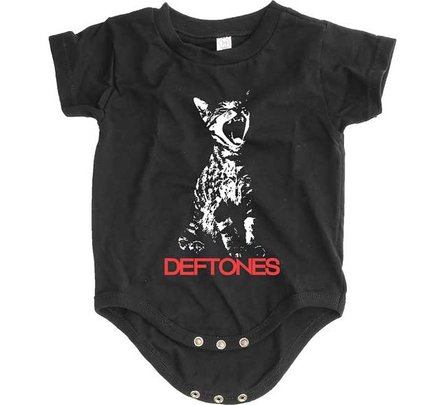 Deftones- Cat on a black onesie (S=0-6m, M=6-12m, L=12-18m)